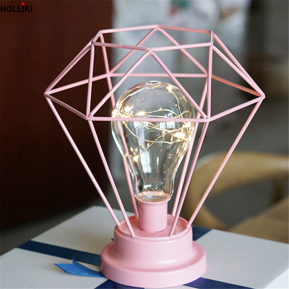 LED European Rose Gold Desk Table Lamp Scandinavia Chic Geometry Photo Props Night Light Lamp for Home Decor Luminaria De Mesa 3d led night light gear love heart usb touch switch steampunk style heart table lamp luminaria de mesa home decor gift toy