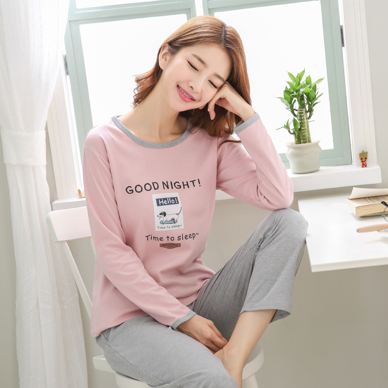 2019 Women Pajamas Sets Autumn Winter New Women Pyjamas Cotton Clothing Long Tops Set Female Pyjamas Sets NightSuit Mother Sleep 96
