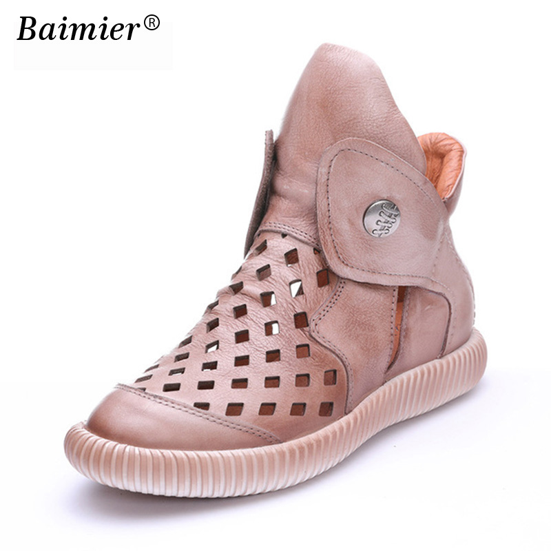 New Women's Genuine Leather Shoes Fashion Casual Shoes Top Quality Retro Women Flats Diamond Hole Mesh Breathable Summer Shoes pinsen fashion women shoes summer breathable lace up casual shoes big size 35 42 light comfort light weight air mesh women flats