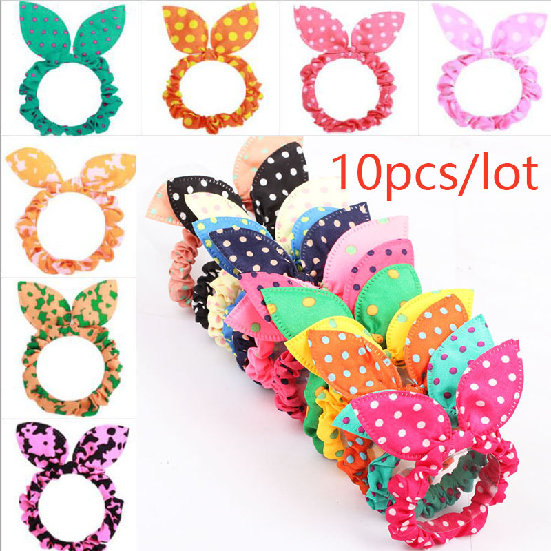 10Pcs/lot Women Hair Band Cute Polka Dot Bow Rabbit Ears Headband Girl Ring Scrunchy Ponytail Holder Hair Accessories