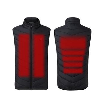 USB podgrzewana kamizelka mężczyźni i kobiety płaszcz pióro termiczna kurtka ocieplana zimowa kamizelka wędkarska taktyczna kamizelka Usb zewnętrzna podgrzewana kamizelka + rozmiar tanie i dobre opinie COTTON Termiczne 181208BX74 Pasuje prawda na wymiar weź swój normalny rozmiar Moc suche Electric Heated Jacket Vest clothes