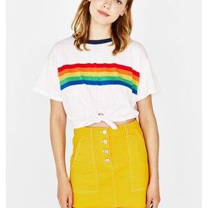 Summer Rainbow Crop Top T Shirt Women Vintage Fashion Cotton Stripe Aesthetic Tumblr Feminist Vegan Korean White Tops Plus Size