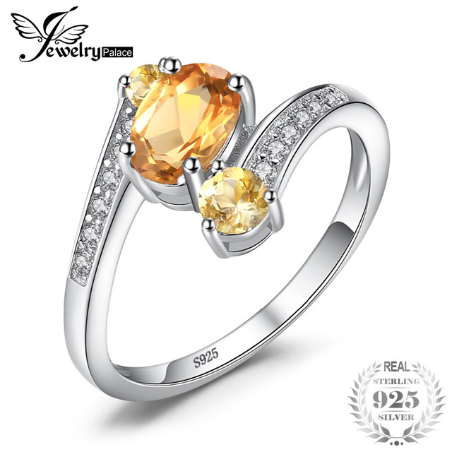 JewelryPalace 925 Sterling Silver 0.9ct Natural Citrine 3 Stone Anniversary Ring