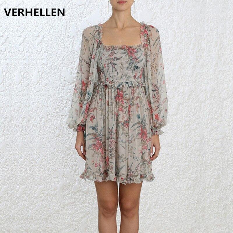 VERHELLEN wysokiej jakości projektant mody pas startowy 2019 wiosna i lato rękaw damski poszerzany typu lantern kwiat wydruku Sexy Backless Mini sukienka w Suknie od Odzież damska na AliExpress - 11.11_Double 11Singles' Day 1