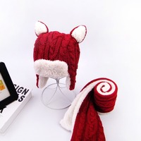XISAYABABY New Winter baby hat scarf set Lovely Warm Children Knitting boys girls cap with Ears Christmas Gifts 1 5T