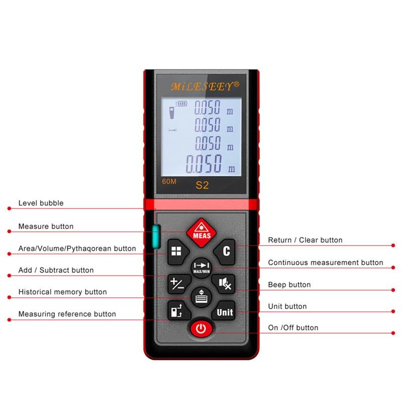 Mileseey s2 40m/60m/80m/100m laser rangefinder measuring tool laser distance meter Measurement Laser RangeFinder akg pae5 m
