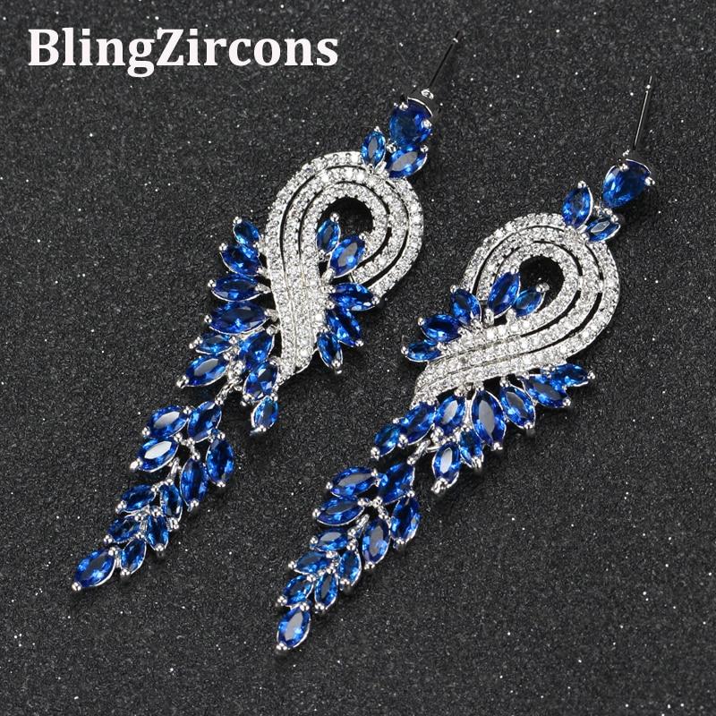 BlingZircons Brand CZ Ladies Ear Jewelry Right And Left Royal Blue Zirconia Long Dangle Earrings For Women Wedding Gift E033