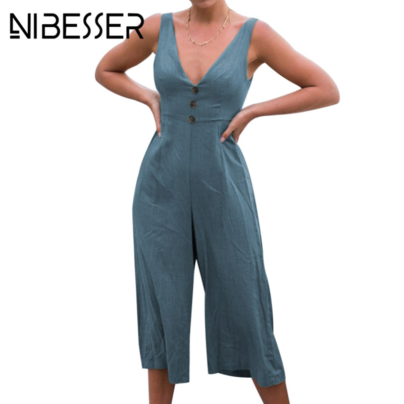 NIBESSER Women Sexy Backless Bow Jumpsuit Summer Deep V Neck Sleeveless Romper Casual Button Overalls Womens Lace Up Bodysuit
