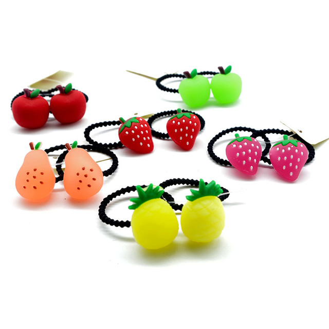 2pcs lot Little Girls Silica Gel Fruits Elastic Hair Bands Special Cute  Soft Pineapple Apple Pear Strawberry Hair Ties Headwear 6eb8ab1f46d