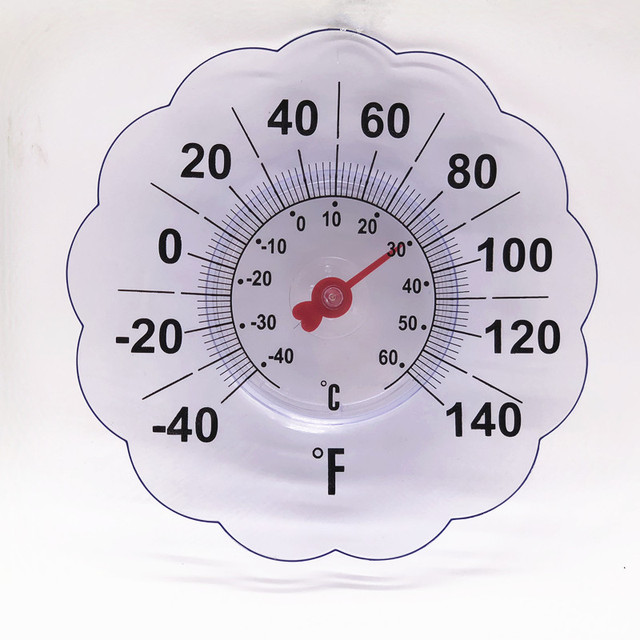 Large 7 Flower Design Indoor Outdoor Rubber Suction Cup Window Thermometer