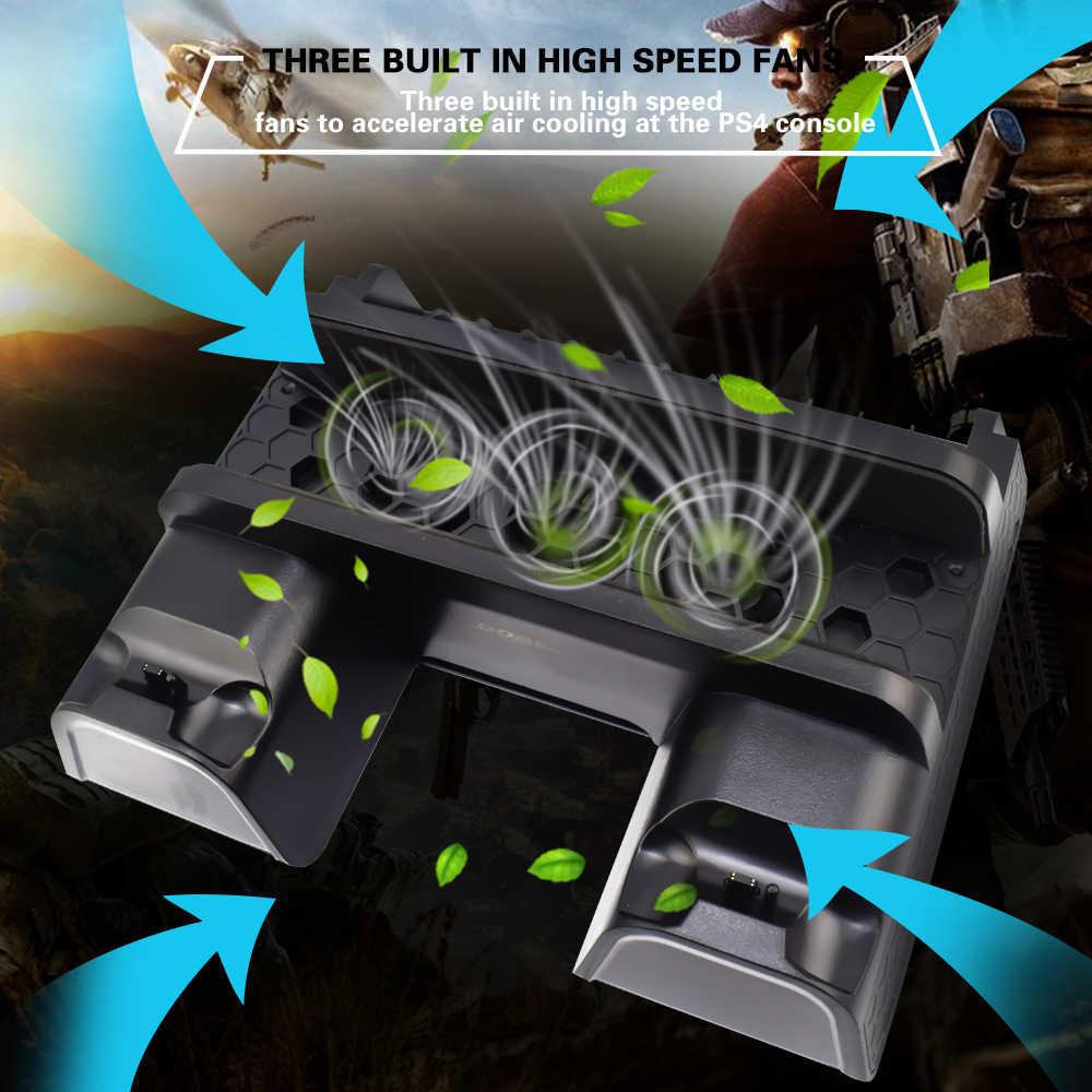 3 в 1 для PS4/PS4 Slim/PS4 PRO вертикальная подставка с двойным контроллером зарядная станция игры для sony Playstation 4 вентилятор охлаждения