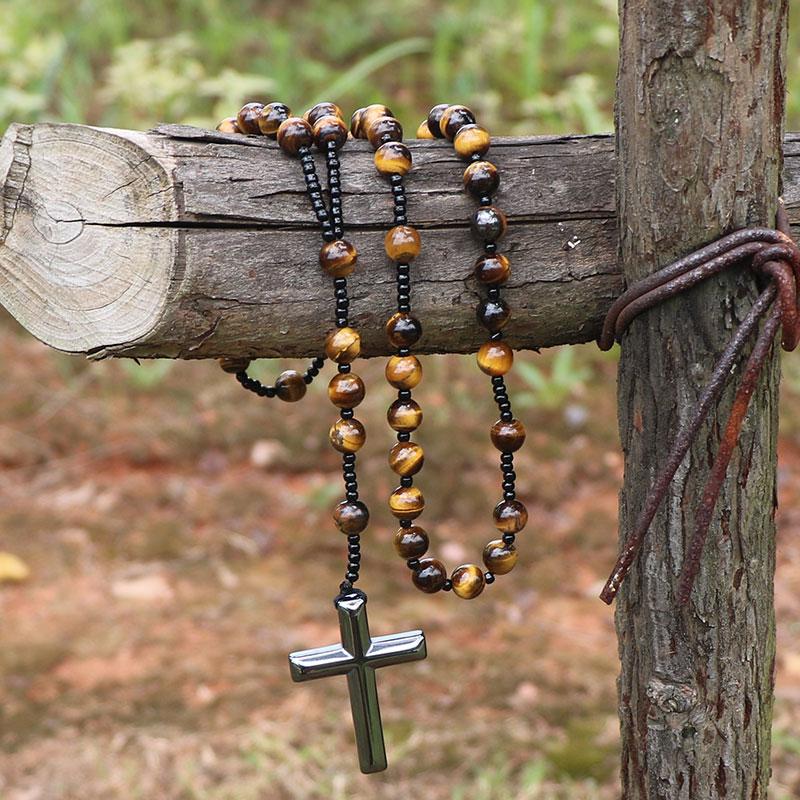 Handmade Tiger Eye Stone Nature Lapis Lazuli Beads Meditation Necklace Reiki Hematite Cross Pendant Women Men Rosary Necklace недорго, оригинальная цена