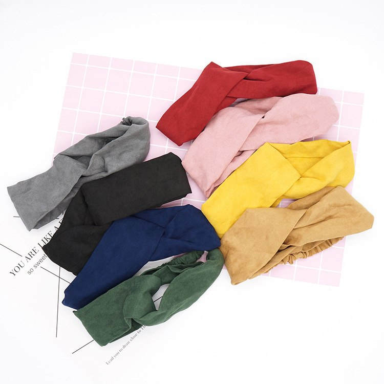 2018 New Women Spring Suede Soft Solid Headbands Vintage Cross Knot Elastic Hairbands Bandanas Girls Hair Bands Hair Accessories in Women 39 s Hair Accessories from Apparel Accessories
