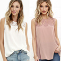 New Women Casual Basic Summer Chiffon Lace Blouse Top Shirt sleeveless blusas patchwork Plus Size