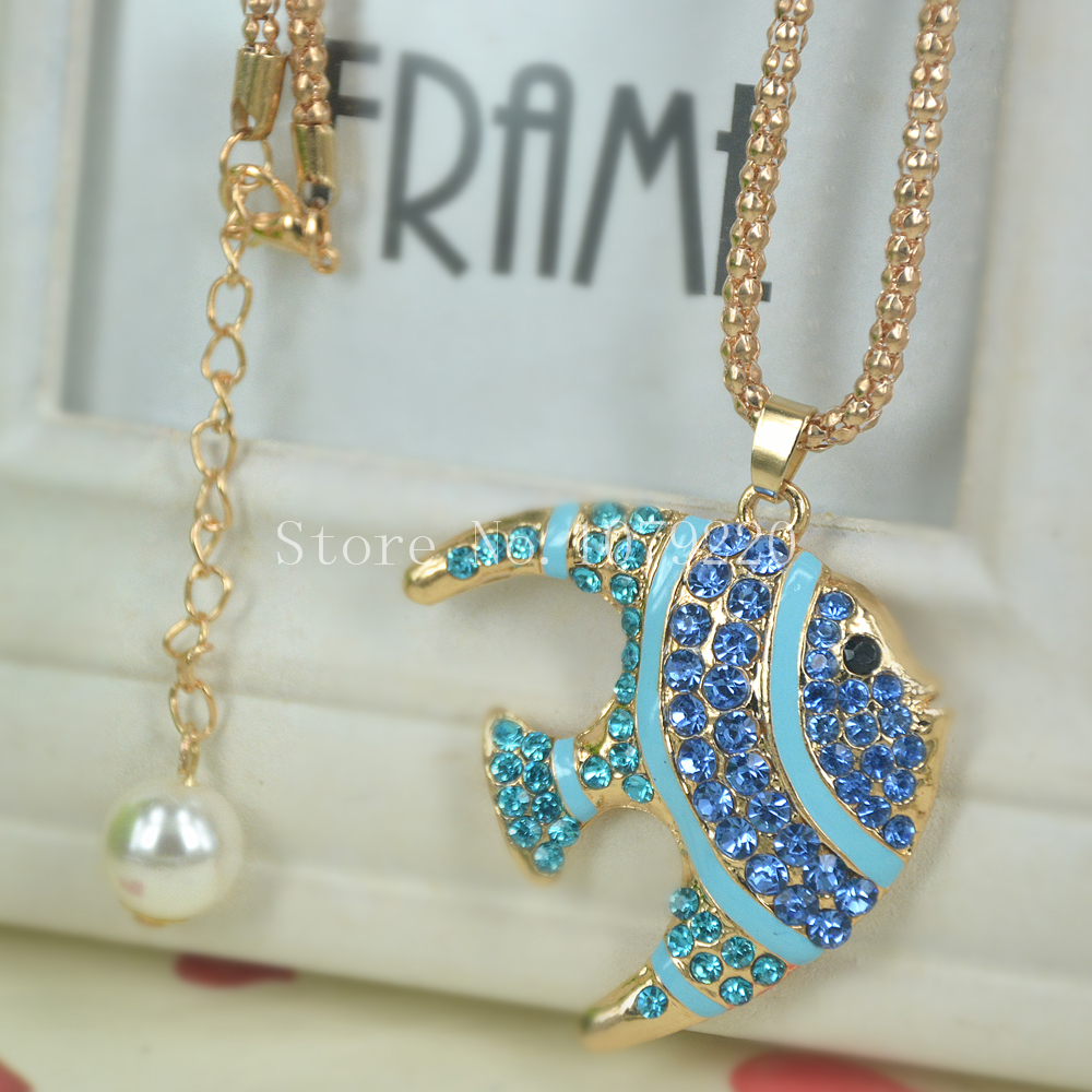Blue Fish Sweater Bead Necklace Jewelry Crystal Women Long Necklace Pendants Rhinestone Chain Christmas Valentines Gift