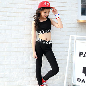 Image 5 - ילדה בגדי ג אז היפ הופ ריקוד תחרות תלבושות קיץ ילדי חולצות + מכנסיים 2 pcs ספורט חליפת בגדי נערה ריקוד ללבוש