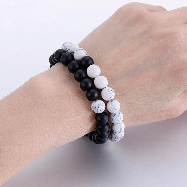 2Pcs Set Couples Distance Bracelet Classic Natural Stone White and Black Yin Yang Beaded Bracelets for