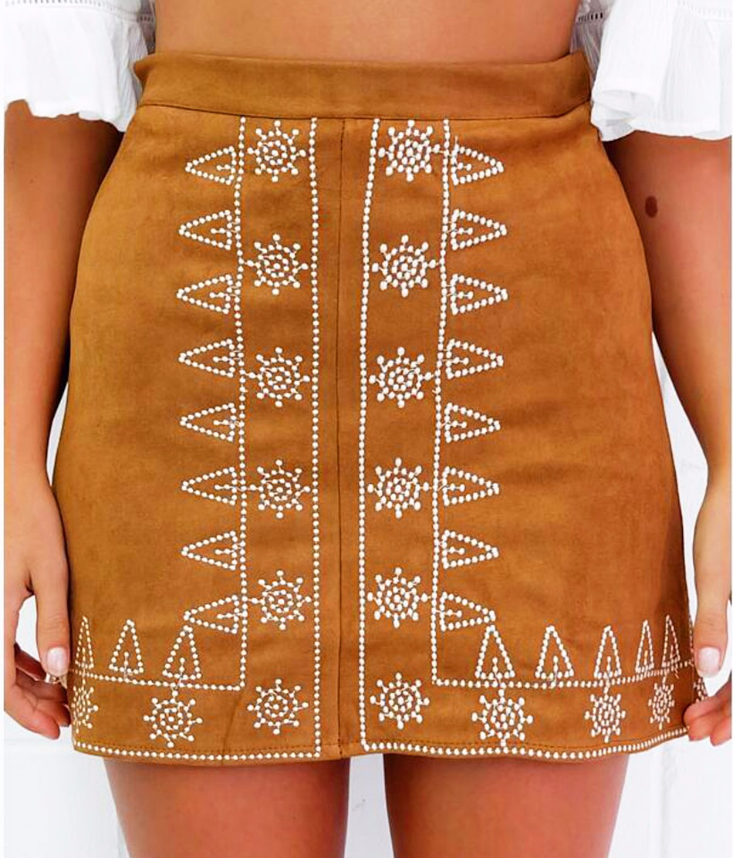 HTB1g.YdNpXXXXXQXFXXq6xXFXXXS - FREE SHIPPING  Embroidery Suede A-line Skirt Black Brown Mini Skirts JKP350