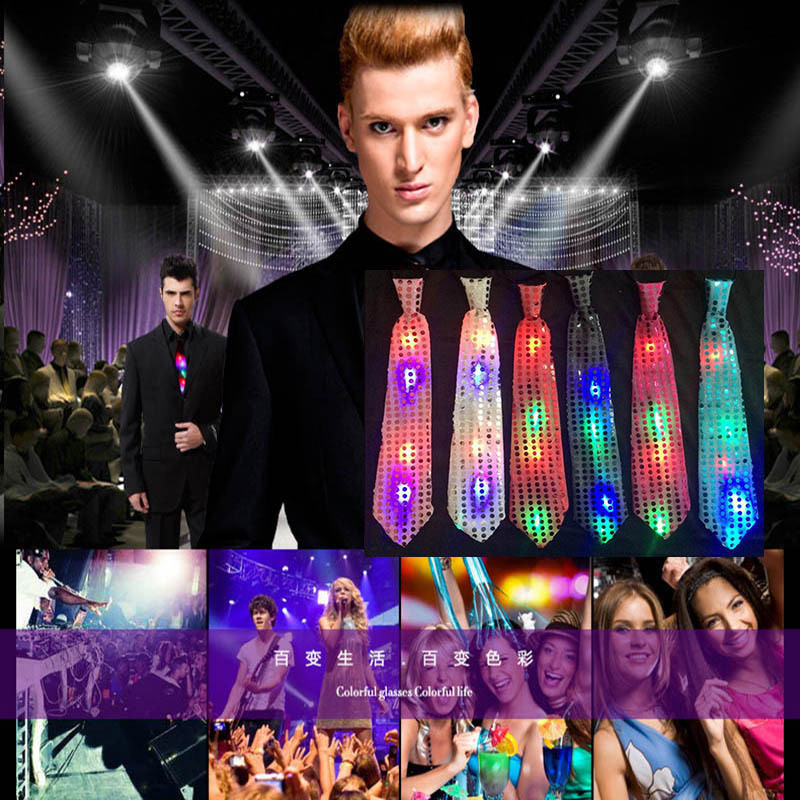 Quadruple LED Flashing Bow Tie Necktie Glowing Sequins Ties Performance Props Novelty Christmas Bar Night Club Lighting Decor