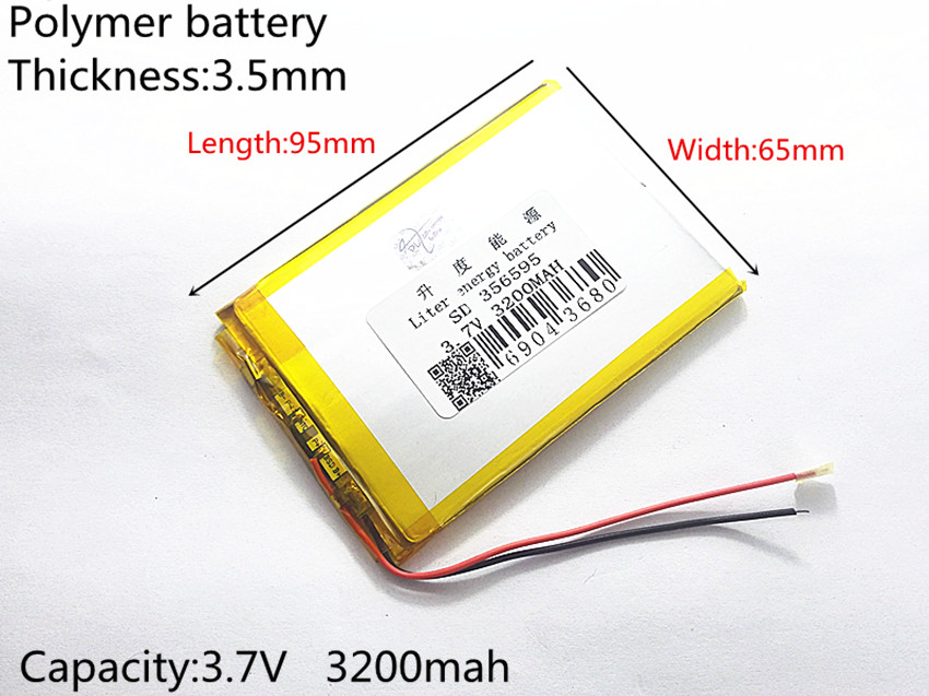 3.7V 3200mah (polymer lithium ion battery) Li-ion battery for tablet pc 7 inch MP3 MP4 [356595] Free Shipping taipower onda 8 inch 9 inch tablet pc battery 3 7v 6000mah 3 wire 2 wire lithium battery