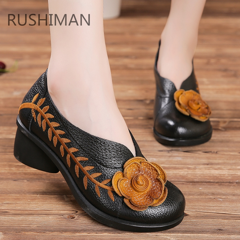 RUSHIMAN 2018 the new national style women's leather shoes in the fall black shoessize 35-40 [100%] the new imported genuine 6mbp50rh060 01 6mbp50rta060 01 billing