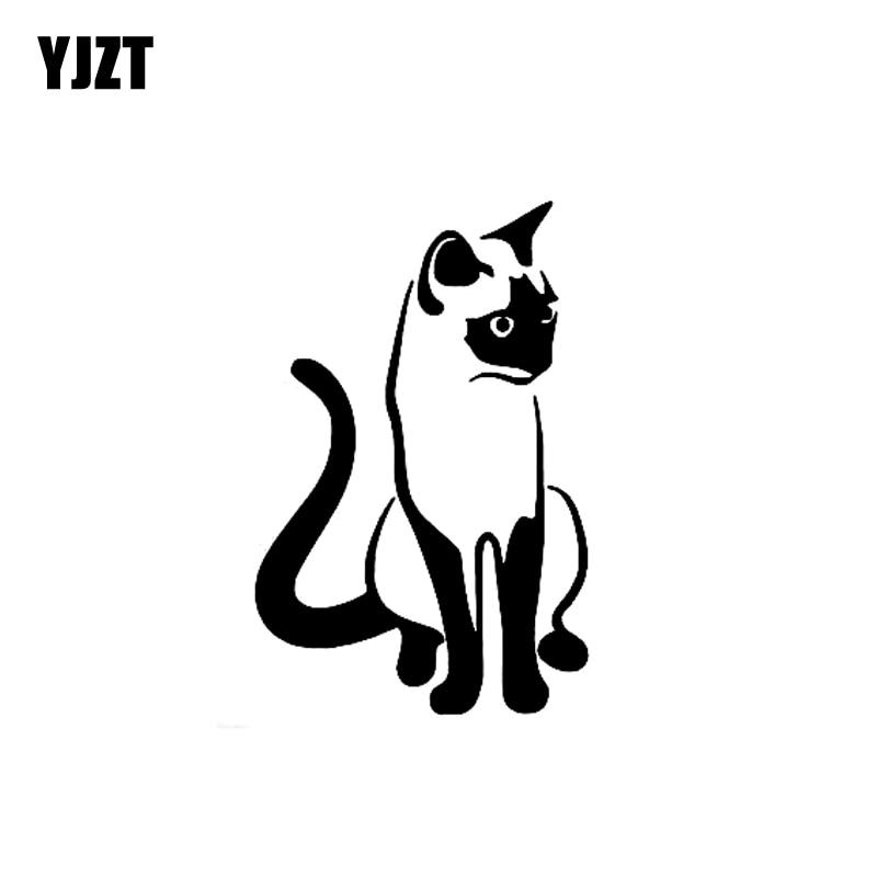 YJZT 9.1CM*14CM Kitten Siamese Cat Cute Pet Animal Art Car Stickers Vinyl Decal Black Silver C10-02412