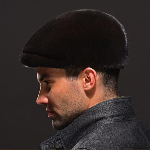 HM038  Real genuine mink  hat  winter Russian men's warm caps whole piece mink  fur hats