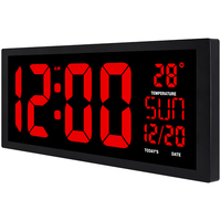 large square wall clock, red LED digital clock, Multi function Home decor, office big table clock, date temperature