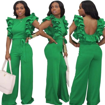 Frilled ruffled jumpsuit fashion halter jumpsuit green sexy casual wild African women's jumpsuit slim long pants waist tie jumps фото