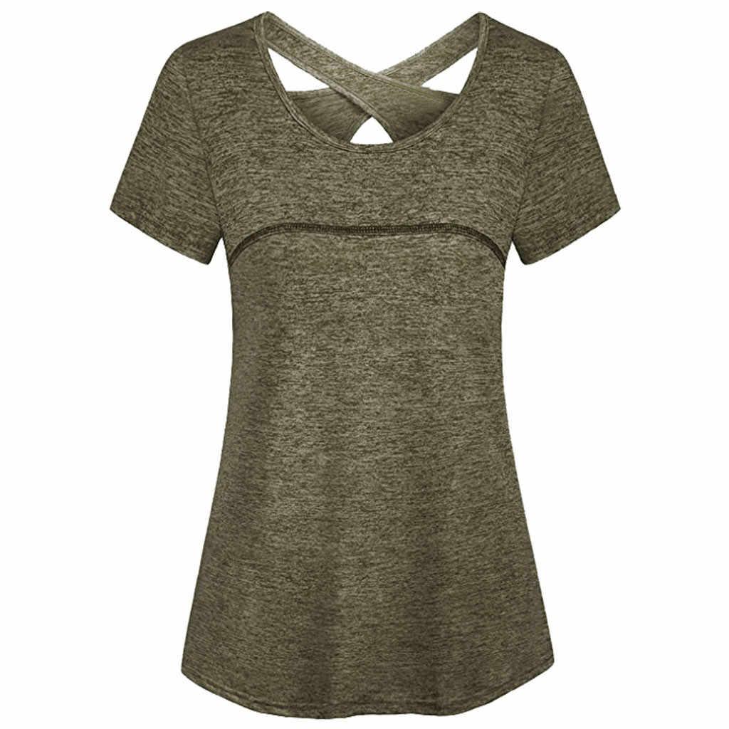Yoga topos mulheres secagem rápida solta correndo tshirt ginásio esportes de fitness respirável camiseta senhoras casual sem mangas regatas