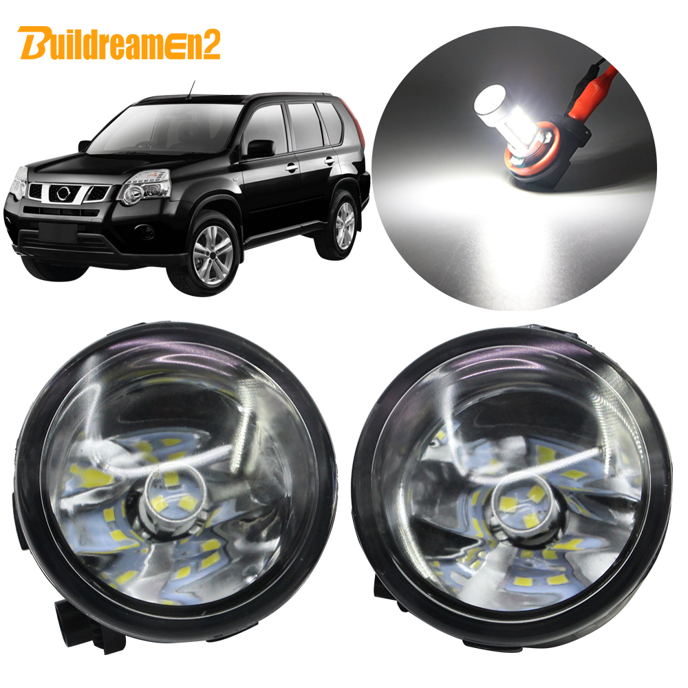 Buildreamen2 For Nissan X-Trail T31 Closed Off-Road Vehicle 2007-2013 Car H11 Fog Light Kit Lampshade + Bulb DRL 12V Accessories
