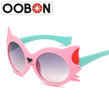 OOBON Brand 2017 New Cat Eye Kids Sunglasses For Children Flexible Silicone Safety Polarized Glasses Girl Baby Eyewear For Party