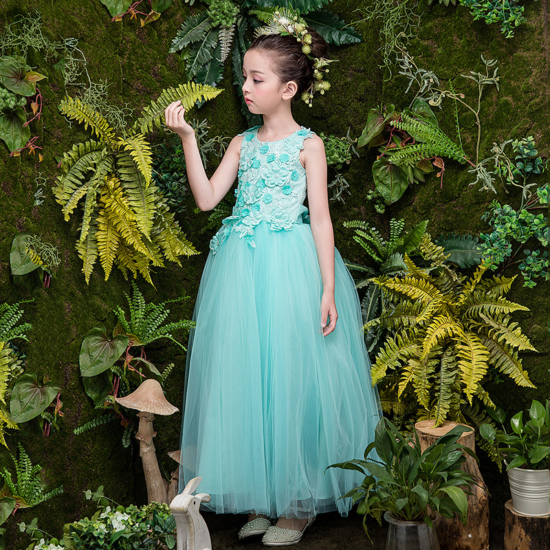 Sweet Aqua Tulle   Flower   Beading Lace A-line Long   Flower     Girls     Dresses   For Wedding   Girls   First Communion Prom Party   Dresses