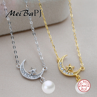 MeiBaPJ 8mm Round Freshwater Pearls Necklace Elegant 925 Sterling Silver Moon Stars Pendant Necklace For