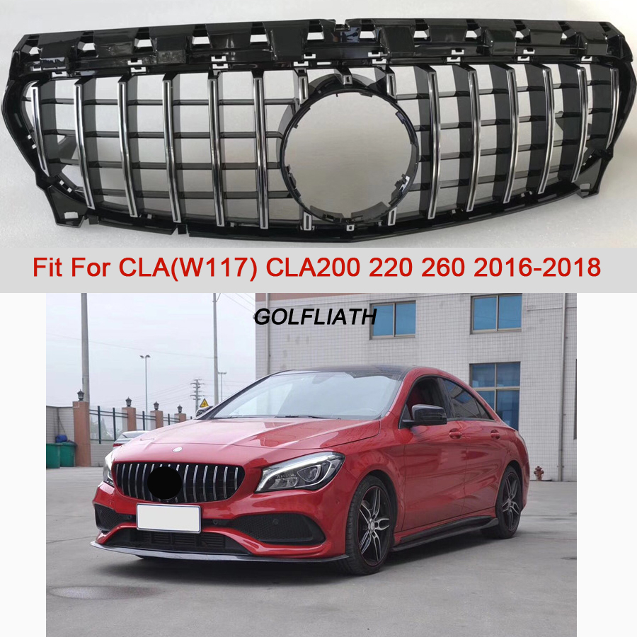 GTR style Grille AMG Front Grill For CLA Class Mercedes Benz W117 C117 CLA200 220 CLA260 300 2016 2017 2018 ABS Material