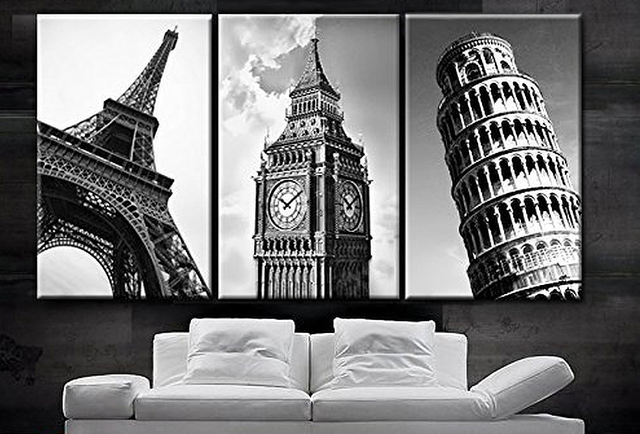 3 piece framed wall art triptych pieces framed wall art picture gift home decoration canvas print painting european castle series wholesale