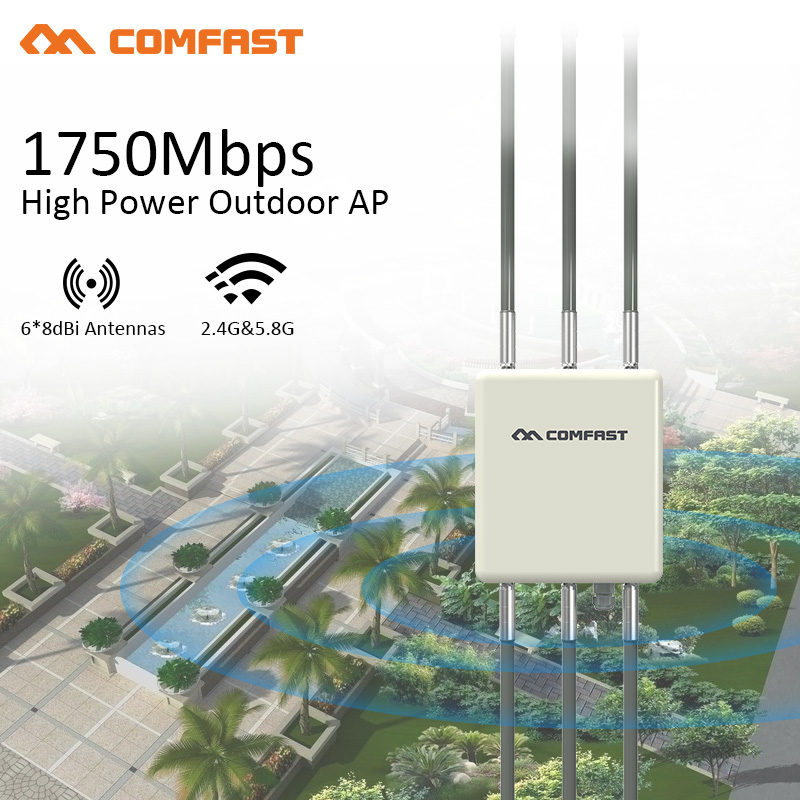 1750M Gigabit 360 Degree Cover Waterproof Outdoor AP WiFi Router 5.8Ghz Dual Band Access Point 6*8dBi Wifi Antennas Base Station