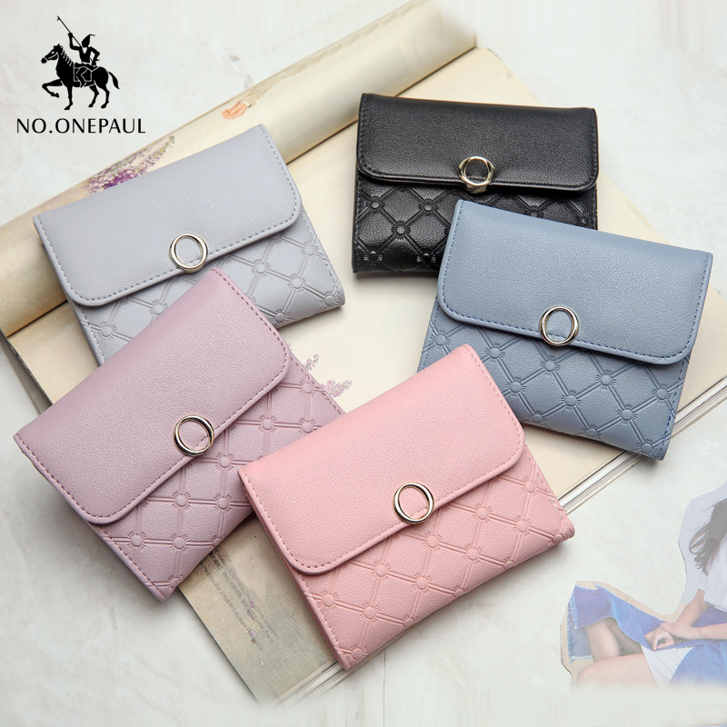 NO.ONEPAUL Ladie Short Card Bag Gold Buckle Multi-card Sweet Lady Style Top Cowhide Fabric Ladies Leather Fashion Compact Wallet