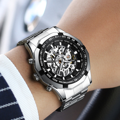 2018 New FNGEEN brand new high-end fashion steel belt automatic hollowing machinery men's watches Stainless Steel clock 4