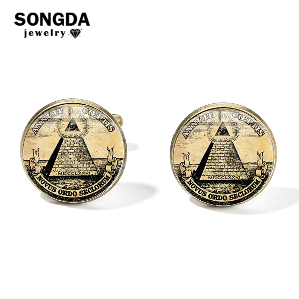 SONGDA Retro Charm Illuminati Pyramid Eye Cufflinks For Mens Masonic Square Compasses Freemason Glass Gem Badge Shirt Cuff Links