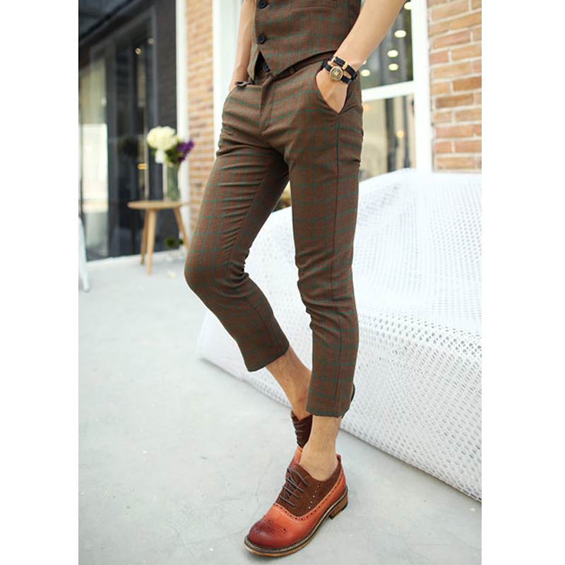 Men S Trendy Hipster Korean Fashion Brown Plaid Plaided Casual Capri
