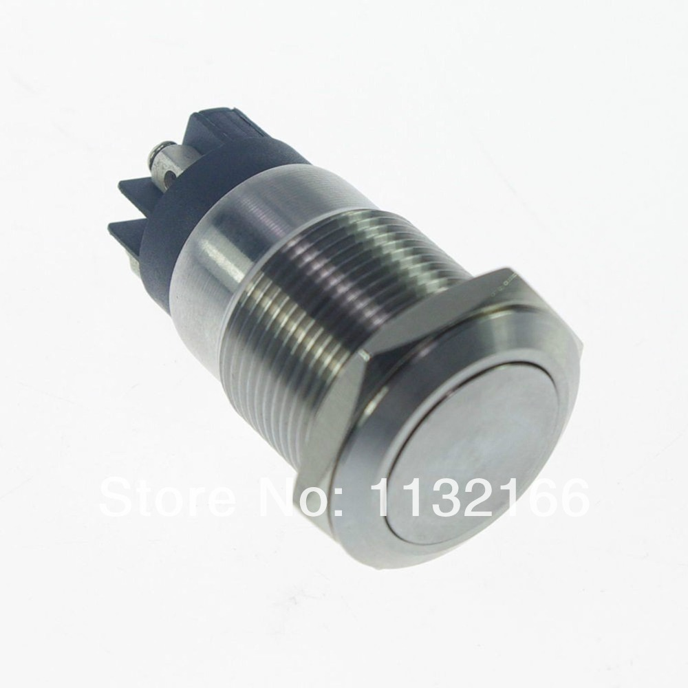Waterproof 19mm OD Stainless Steel Maintained / Latching Push Button Switch 4 Pin Screw Terminal  Flat Round 1NO 1NC 1 x 16mm od stainless steel push button switch flat round screw terminals