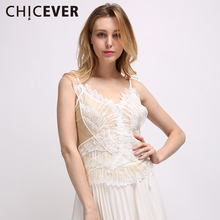 CHICEVER 2017 Summer Embroidery Top Sexy Women Female Feather Wings White Lace Tops Camis New Fashion Clothing