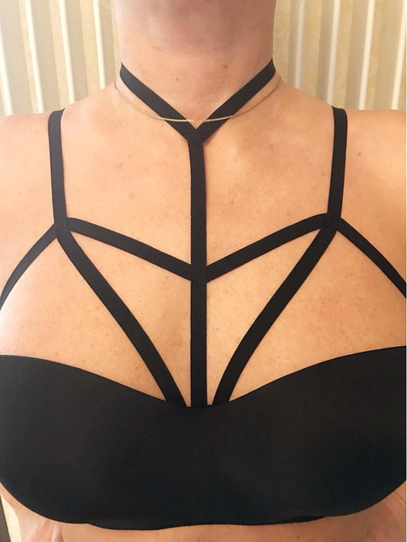 HTB1g._7QVXXXXchaXXXq6xXFXXXR Hot Black BDSM Gothic Spandex Handmade Women Harness Bra