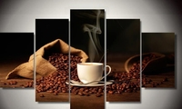 Modern Indoor Decor Framed Coffee with Beans print canvas decoration 5 pieces