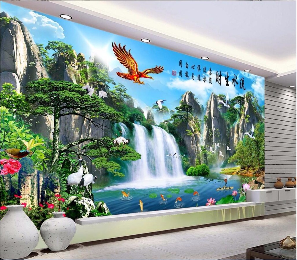 3d wallpaper custom mural photo The eagle crane falls water room decoration painting 3d wall murals wall paper for walls 3 d mvava 3 gang 1 way eu white crystal glass panel wall touch switch wireless remote touch screen light switch with led indicator