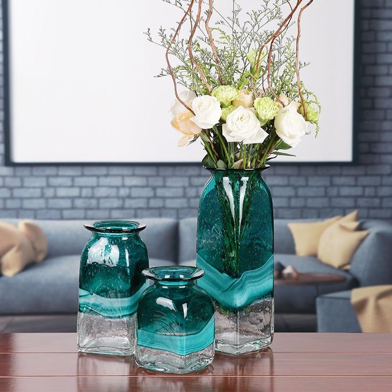Vase en verre moderne minimaliste salon Table décoration de la maison Arrangement de fleurs eau Culture Vase décoration