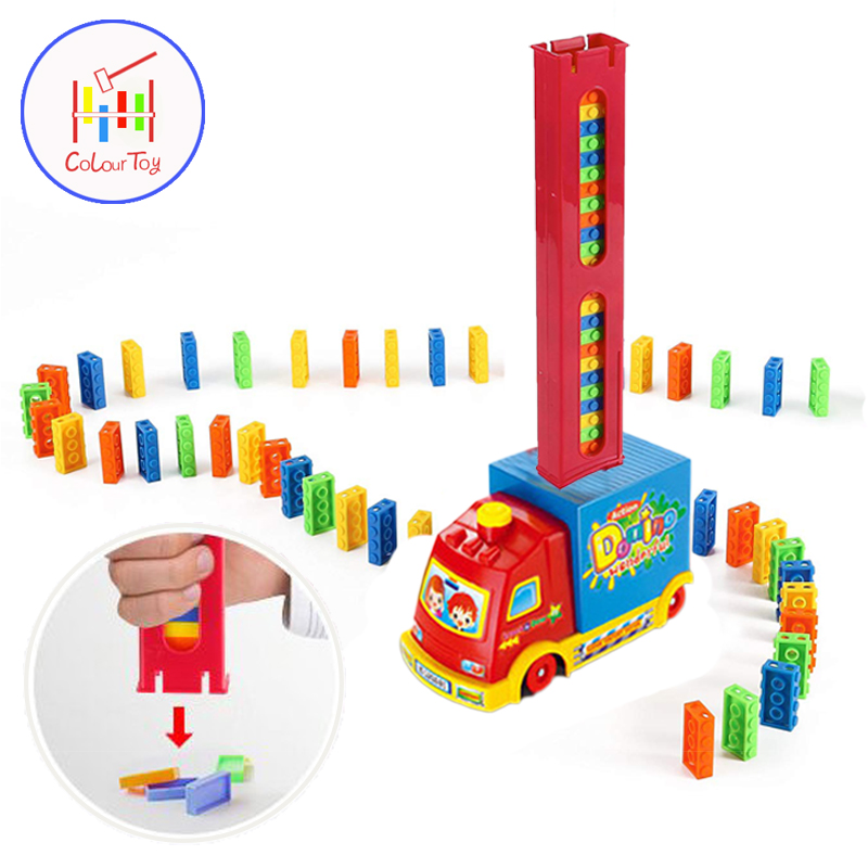 Domino Train 100pcs Colored Sort Rainbow Dominoes Block Children Automatic Vehicles Model Toy 3+ Years Kid Educational Boys Gift