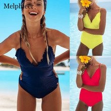 One Piece Swimsuit Women Swimwear Maillot De Bain Femme Ruffle Bodysuits Swimming Suit Yellow Bathing Suit Beachwear Monokini все цены