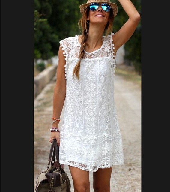 Robe blanche au crochet